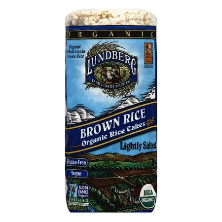 Lundberg Gluten Free Rice Cakes Organic Low Salt Brown, 8.5 OZ (Pack of 12)