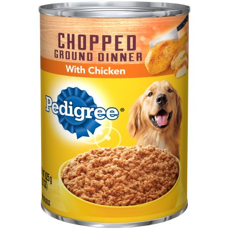 (12 Pack) PEDIGREE Chopped Ground Dinner With Chicken Adult Canned Wet Dog Food, 22 oz.