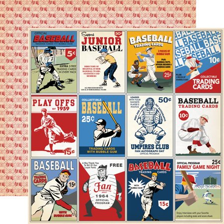"Baseball Double-Sided Cardstock 12""X12""-3""X4"" Journaling Cards - image 1 of 1"
