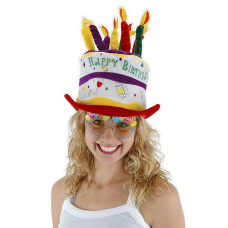 Happy Birthday Party Cake Cheers Adult Costume Hat One Size
