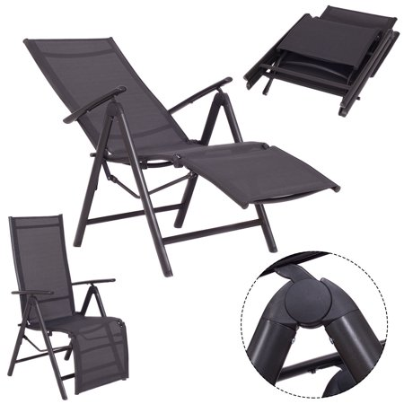 Costway Adjustable Folding Lounge Chaise Chair Recliner Outdoor Patio Furnitu
