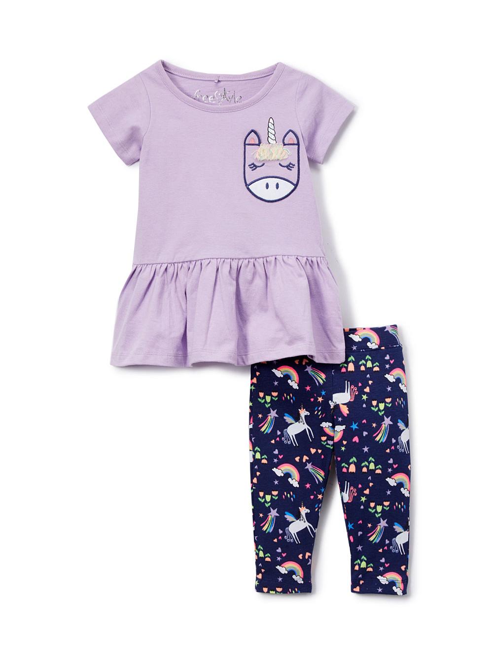 Peplum Top and Printed Leggings (Toddler Girls)