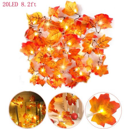 WALFRONT LED String Lights Maple Leaf Light, 20Led 8.2 Feet Waterproof Fall Garland Hanging Light Decorations for Home Indoor Outdoor Garden Party Decor Thanksgiving Christmas ()