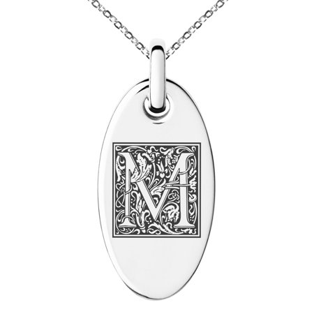 Stainless Steel Letter M Initial Floral Box Monogram Engraved Small Oval Charm Pendant -