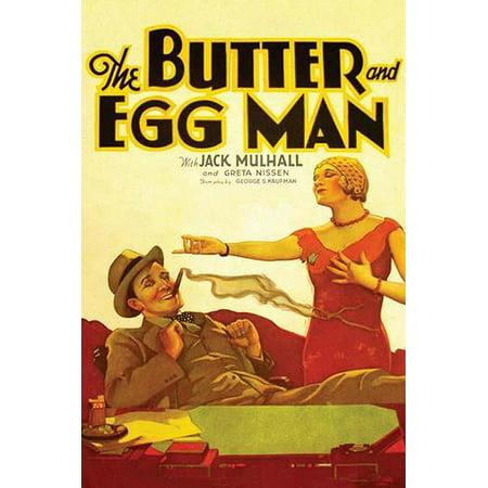 Reclining man smokes a cigar overlooked by a flapper girlfriend Poster - Flapper Man
