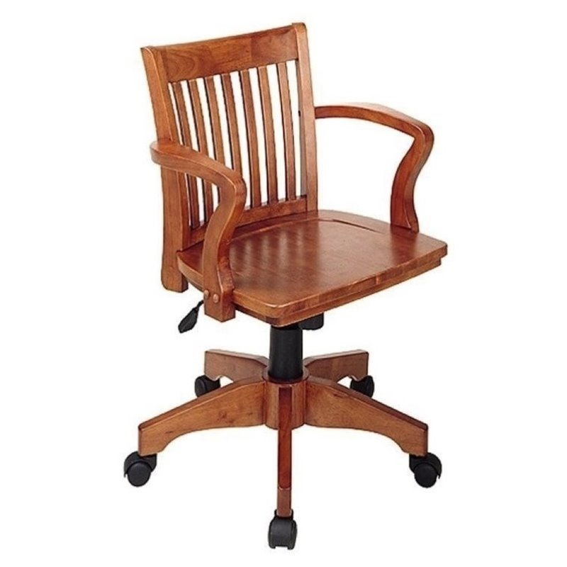 Bowery Hill Wood Bankers Office Chair with Wood Seat in Fruit Wood