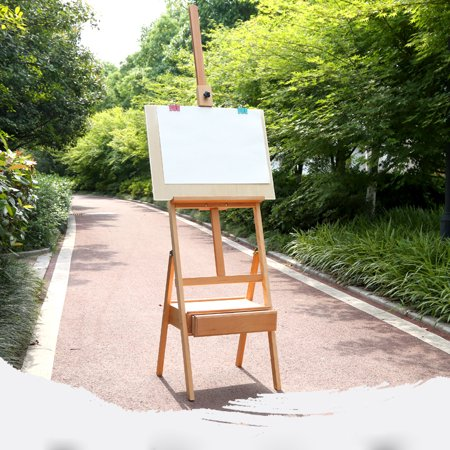 UbesGoo 5' Tripod Easel Stand with Shelf, H-Frame French Style Beech Wood 59