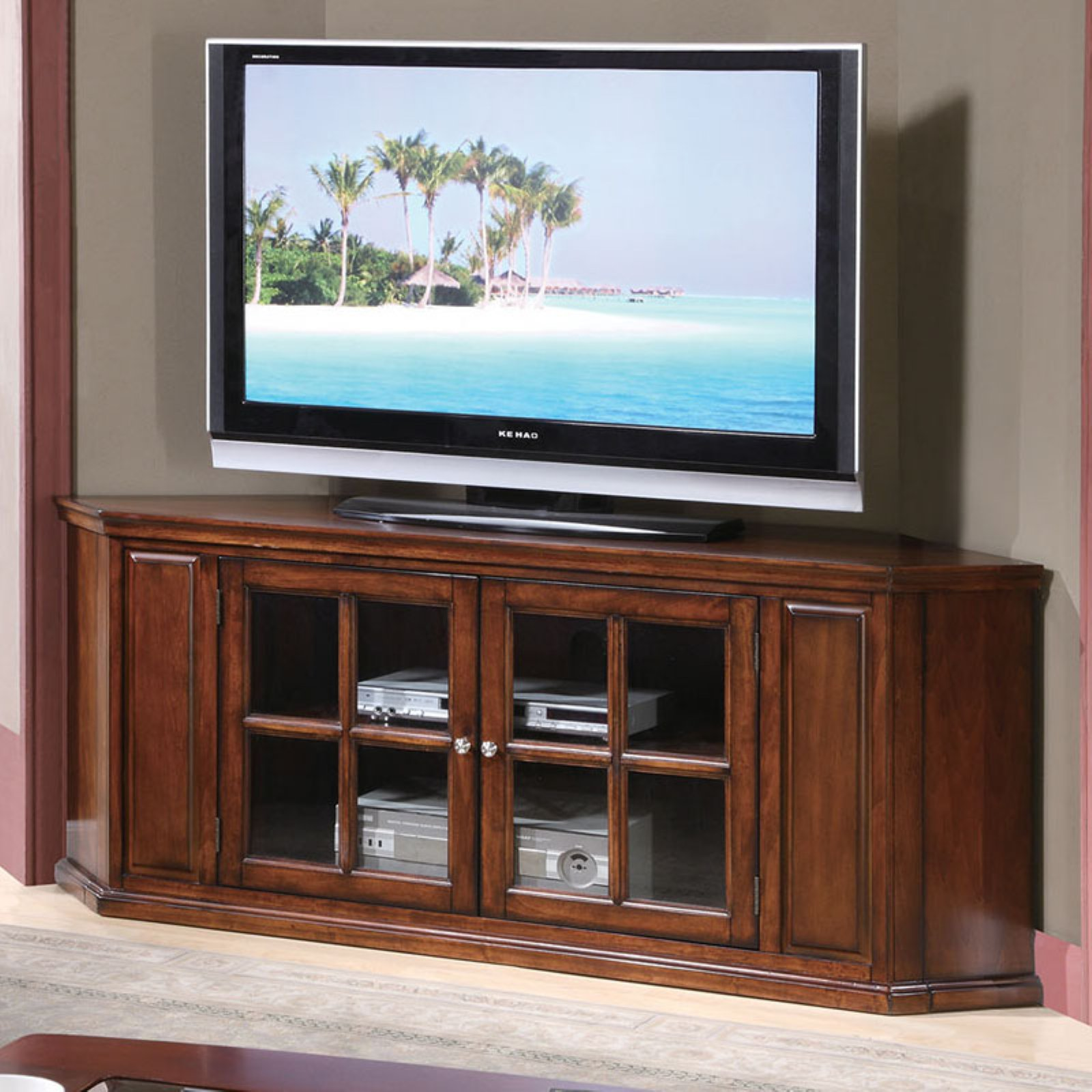 """Acme Remington Brown Cherry TV Stand for TV up to 70"""""""