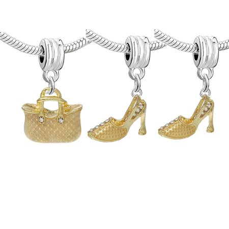 Set of Three (3) Charms Gold Hand Bag and High Heels Shoes Dangle Charm European Bead Compatible for Most European Snake Chain