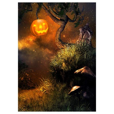 ABPHOTO Polyester Photography Background Photo Backdrops Magic Theme Horror night grass, tree, pumpkin lights, mushrooms, stone for Halloween - List Halloween Horror Nights Themes