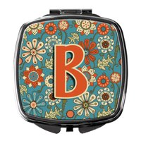 Letter B Flowers Retro Blue Compact Mirror CJ2012-BSCM