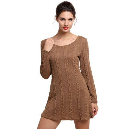 Soft Crewneck Jumper - Women Ladies Long Sleeve Crewneck Jumper Slim Casual Knitted Sweater Mini Dress
