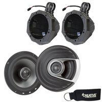 "SSV Works US2-C65U-185 Speaker Enclosures w/ 1.85"" Clamps + Polk MM652 6.5"" Coaxial Speakers with Marine Certification"