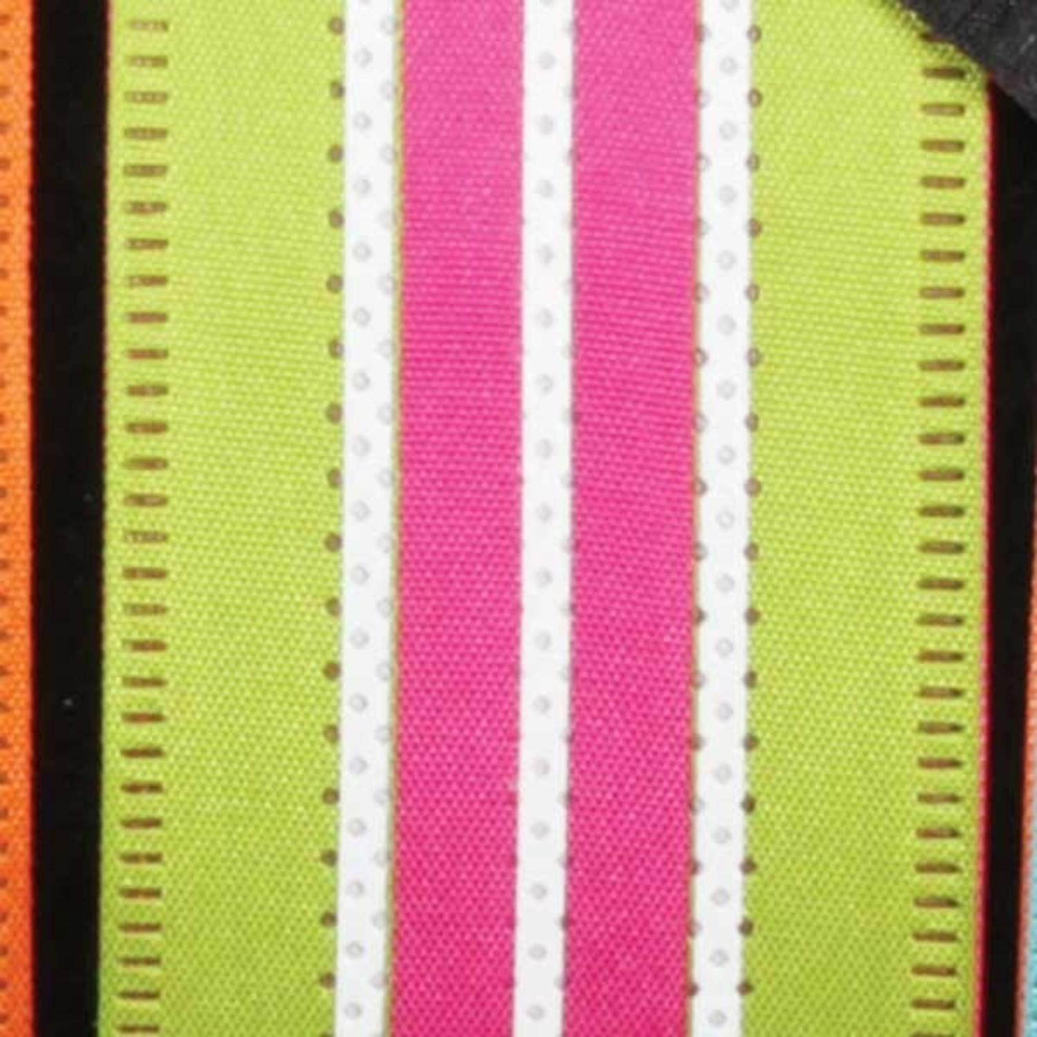 """Green and Pink Highway Wired Craft Ribbon 1.5"""" x 40 Yards"""