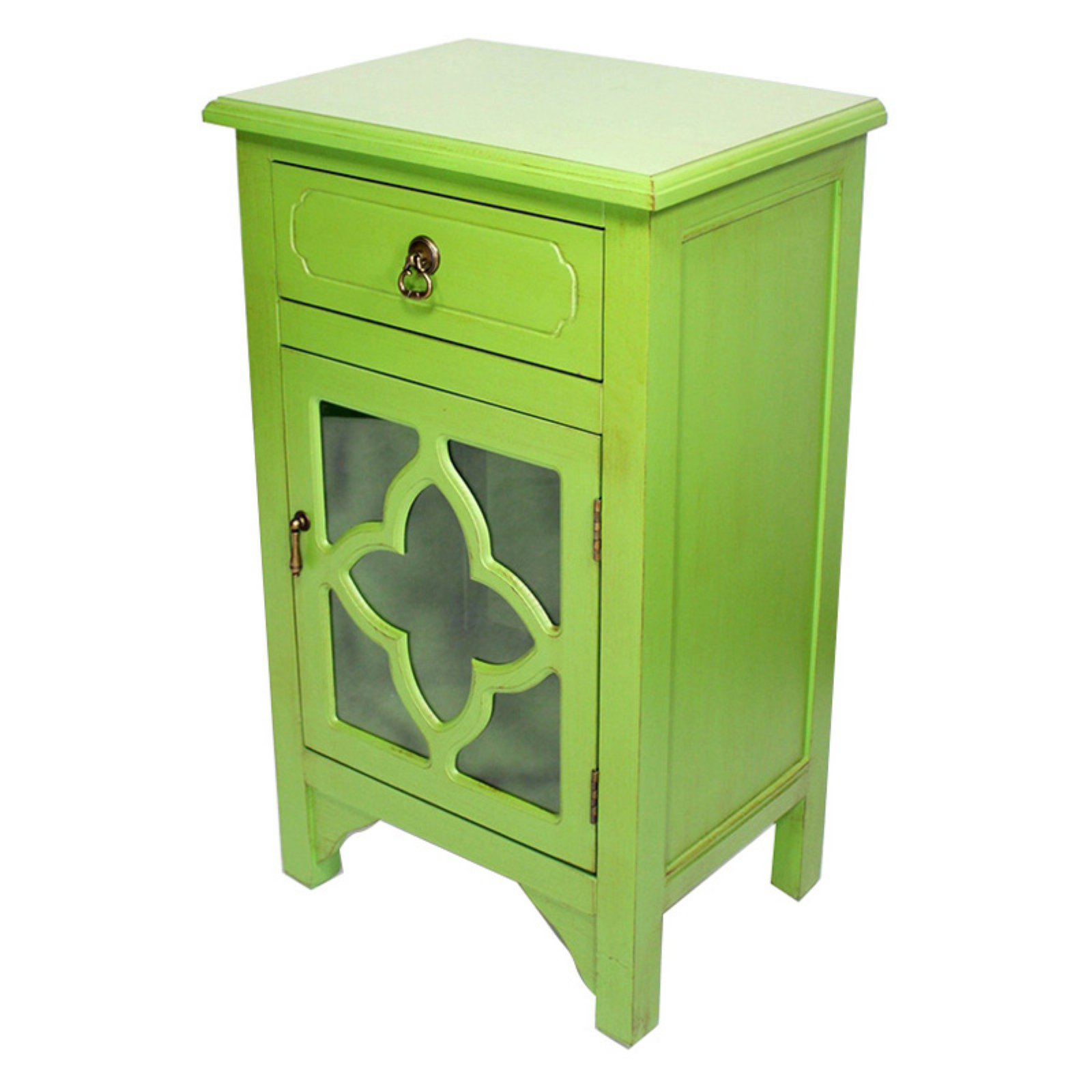 Heather Ann Creations Frasera 1 Drawer 1 Door Quatrefoil Glass Accent Cabinet