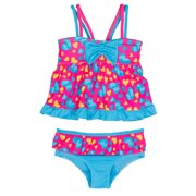 Pink Platinum Little Girls Love Hearts 2-Piece Tankini Swimsuit Set