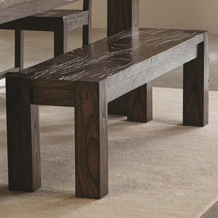 Homeroots Wooden Dining Bench With Sturdy Legs Dark Brown