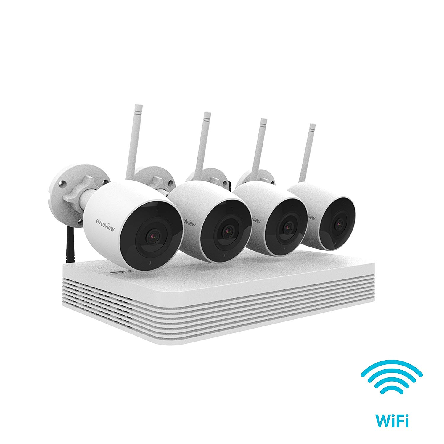 LaView Wireless 4 Channel NVR Security System W/ 1TB & (4) WiFi bullet 1080P Surveillance Cameras