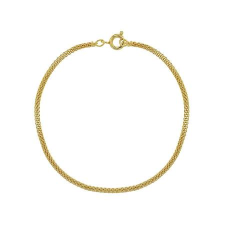 18k Gold Plated Thin Mesh Tube Chain Women Bracelet 7.5