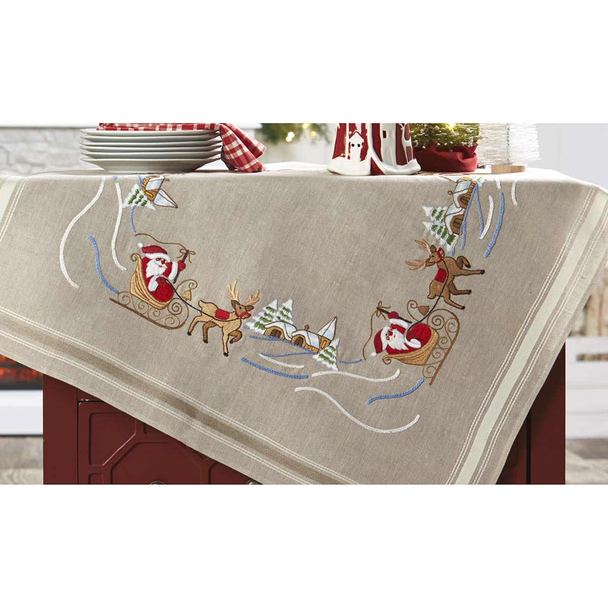 Herrschners® Santa & Rudolph Table Topper Stamped Embroidery Kit