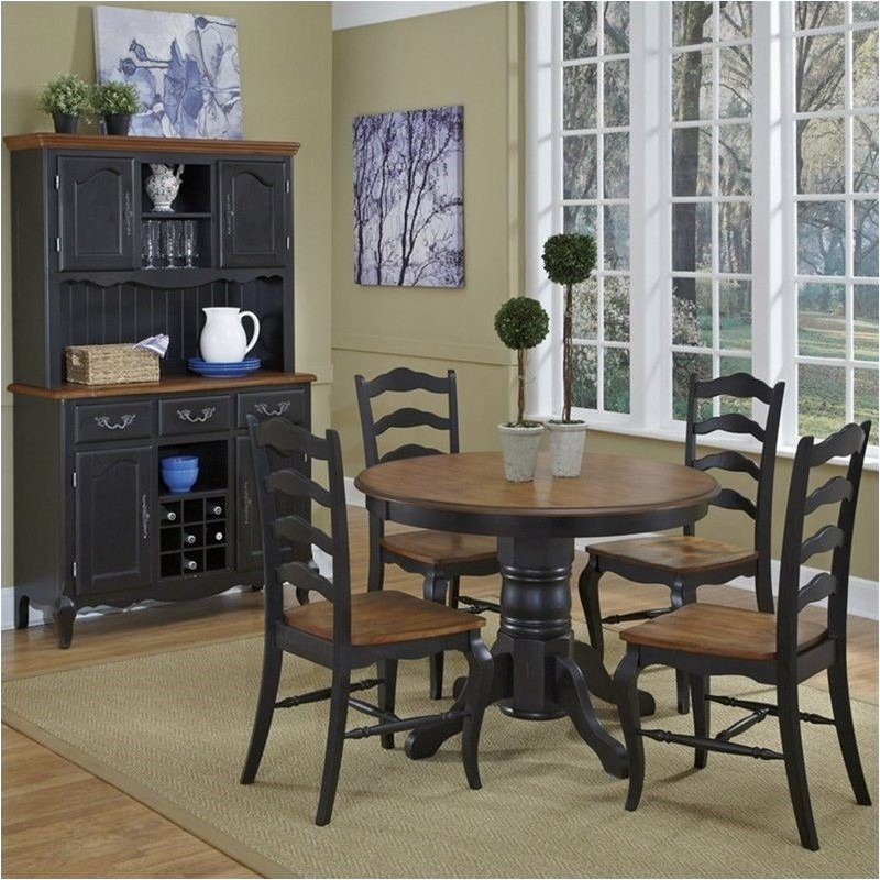 Bowery Hill 5 Piece Round Dining Set in Oak and Rubbed Black