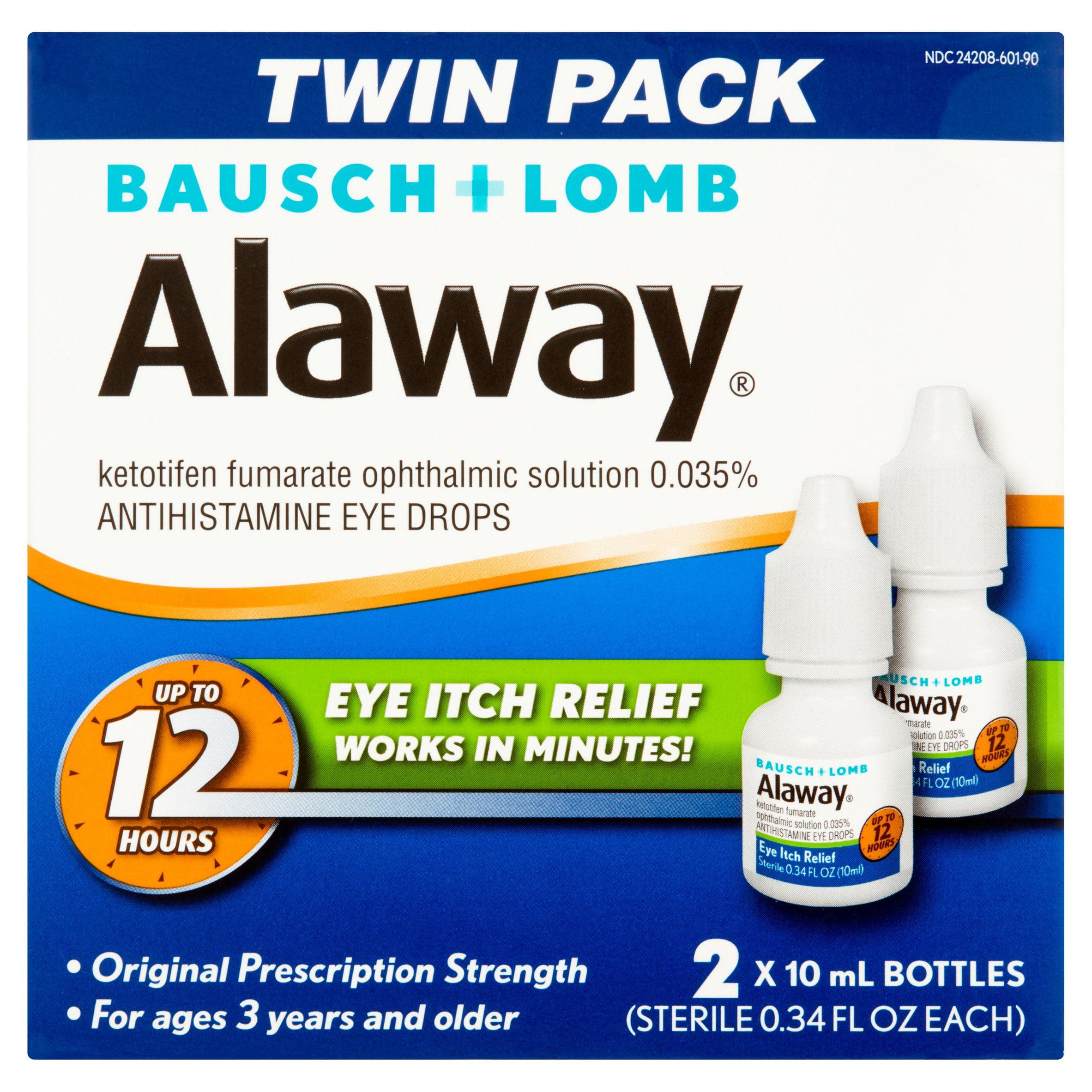 Bausch + Lomb Alaway Antihistamine Eye Drops Twin Pack, 0.34 fl oz, 2 count