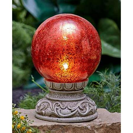 MattsGlobal Solar Powered Cold Cast Ceramic Gazing Balls (Red)