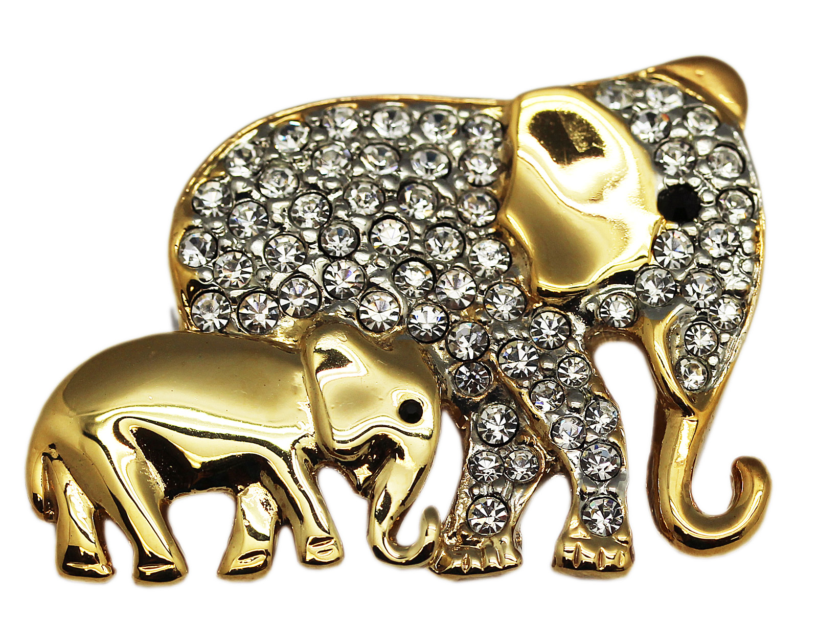 Golden Mother Elephant & Calf Brooch With Clear Rhinestones by