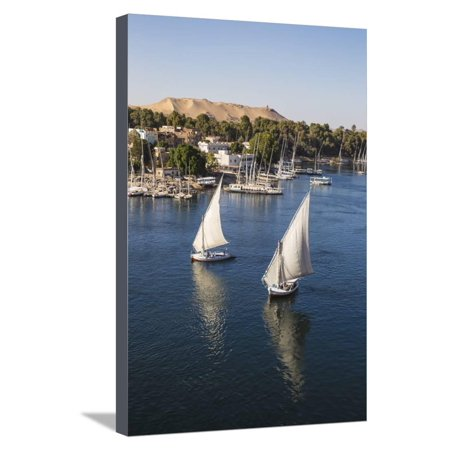 View of The River Nile and Nubian village on Elephantine Island, Aswan, Upper Egypt, Egypt, North A Stretched Canvas Print Wall Art By Jane Sweeney