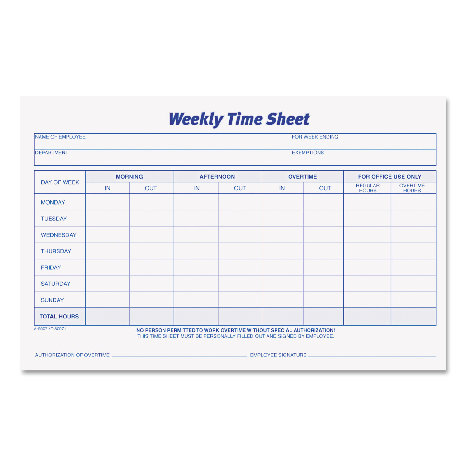 Tops Weekly Time Sheets   X   Pad Pack  WalmartCom