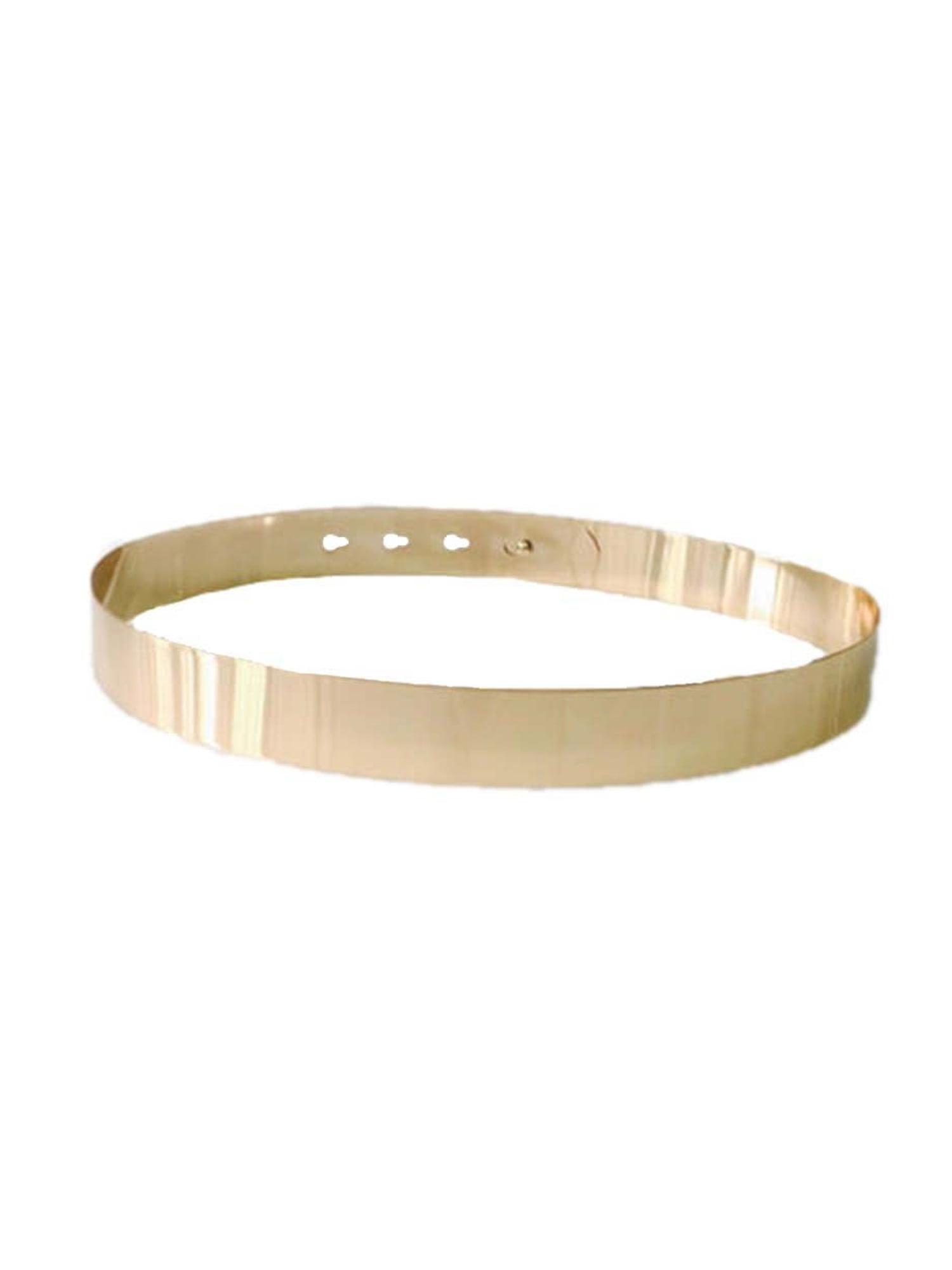Women/'s Elastic Metal Waist Belt Metallic Bling Gold Plate slim Simple Band SO
