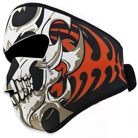 2 In 1 Reversible Windproof Black Tribal Classic Skull Neoprene Half Face Mask Facemask Headwear Motorcycle ATV Biker Bike Cycling (Cycle Products Skull Face Mask)