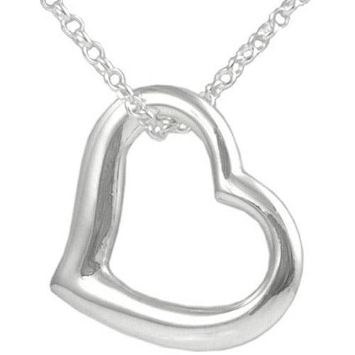 "Brinley Co. Sterling Silver Open Heart Pendant, 18"""