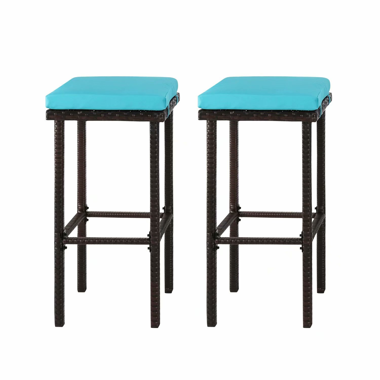 Kinbor Outdoor Furniture Set Of 2 Wicker Backless Bar Stools With Blue Cushions Walmart Com Walmart Com