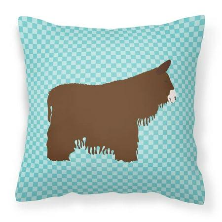 Carolines Treasures BB8026PW1818 Poitou Poiteuin Donkey Blue Check Fabric Decorative Pillow, 18 x 18 in. - image 1 of 1