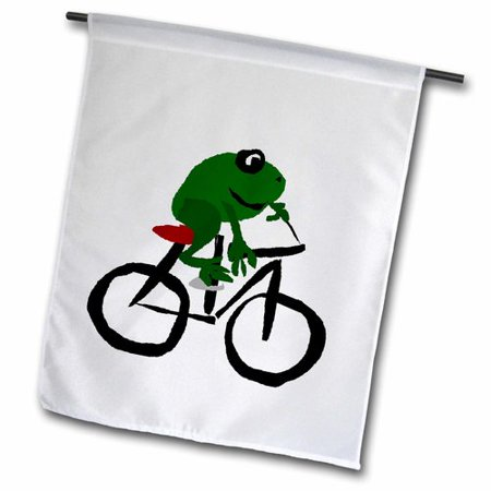 Image of 3dRose Funny Frog Riding Bicycle Primitive Art Polyester 1'6'' x 1' Garden Flag