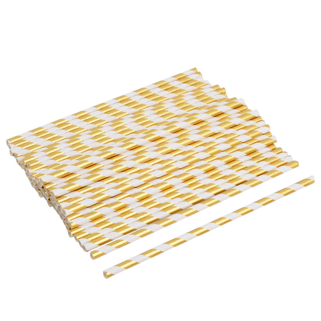 Unique BargainsPaper Diagonal Stripe Print Disposable Drinking Coffee Tea Straw Gold Tone 50pcs