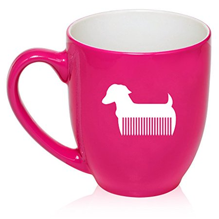 16 oz Large Bistro Mug Ceramic Coffee Tea Glass Cup Pet Dog Grooming Cat Groomer Salon (Hot Pink) ()