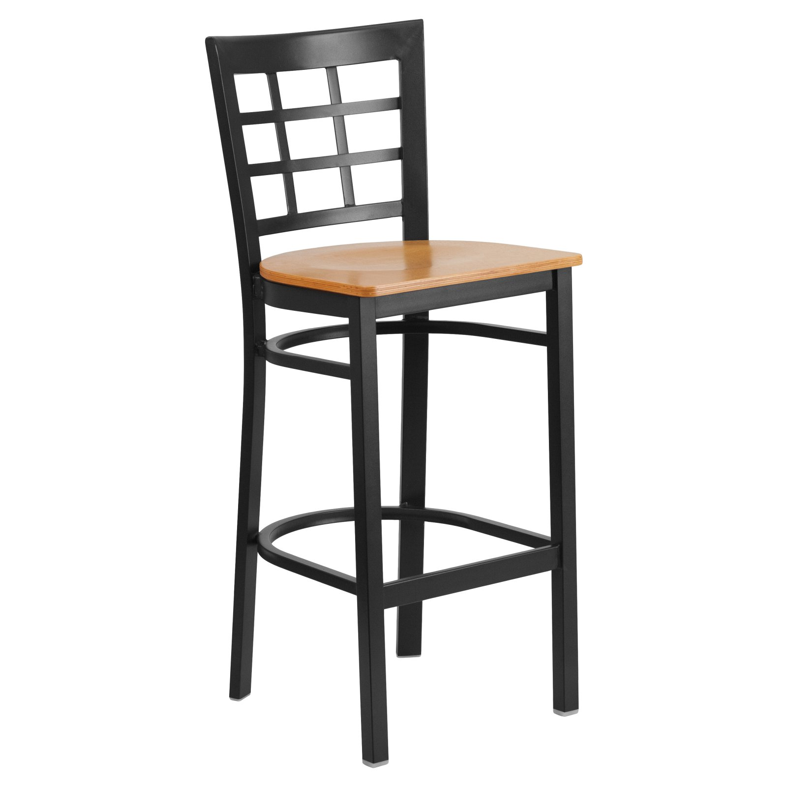 Flash Furniture HERCULES Series Black Window Back Metal Restaurant Barstool -Wood Seat Multiple Colors