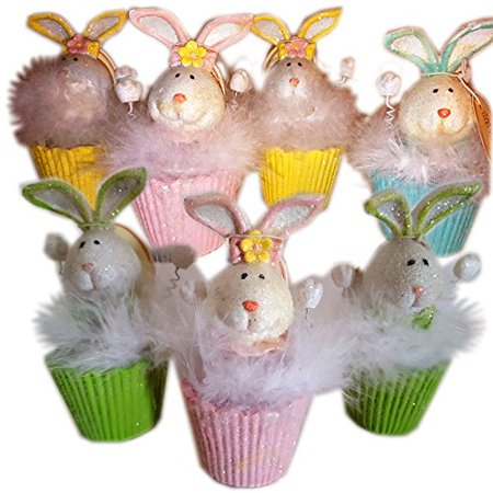 Tii Collections Halloween (Tii Collections Feather Bunny Cupcake Resin Figurine Easter Decor Gift Bundle Set of)