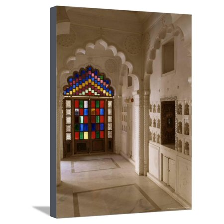 Original Old Stained Glass Windows and Traditional Niches Let into the Walls, Jodhpur, India Stretched Canvas Print Wall Art By John Henry Claude Wilson