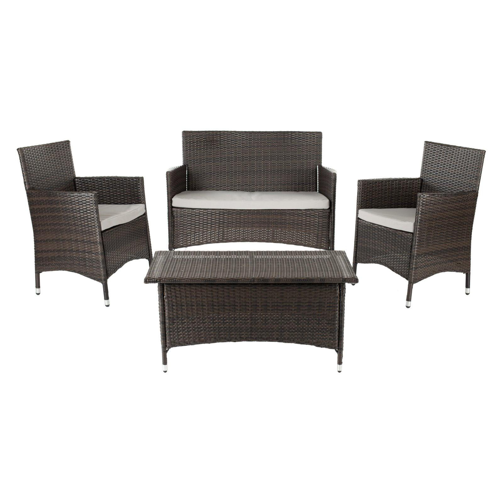 Safavieh Manning All-Weather Wicker Conversation Set - Seats 4