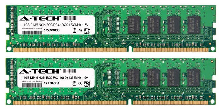 2GB Kit 2x 1GB Modules PC3-10600 1333MHz 1.5V NON-ECC DDR3 DIMM Desktop 240-pin Memory Ram