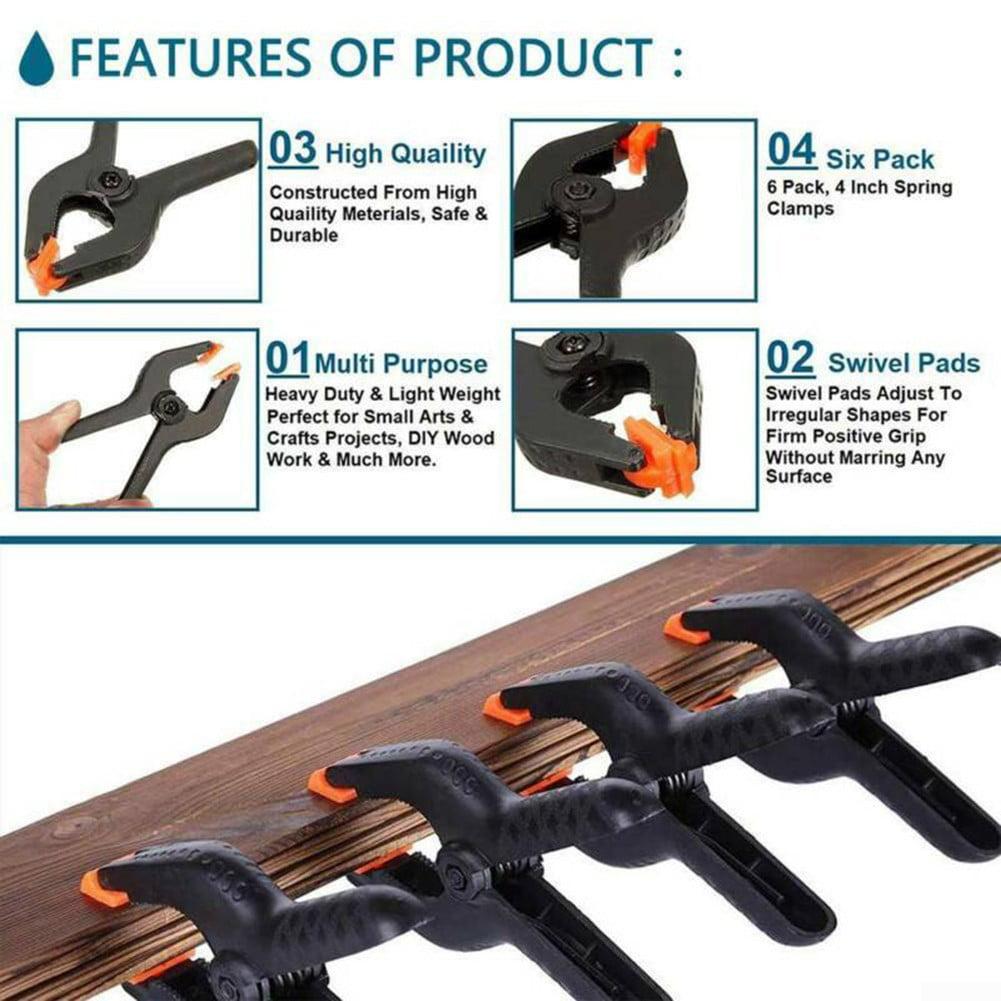 6pcs 6 Plastic Spring Clamps Market Stall Clip Nylon Tarpaulin Woodworking Tool