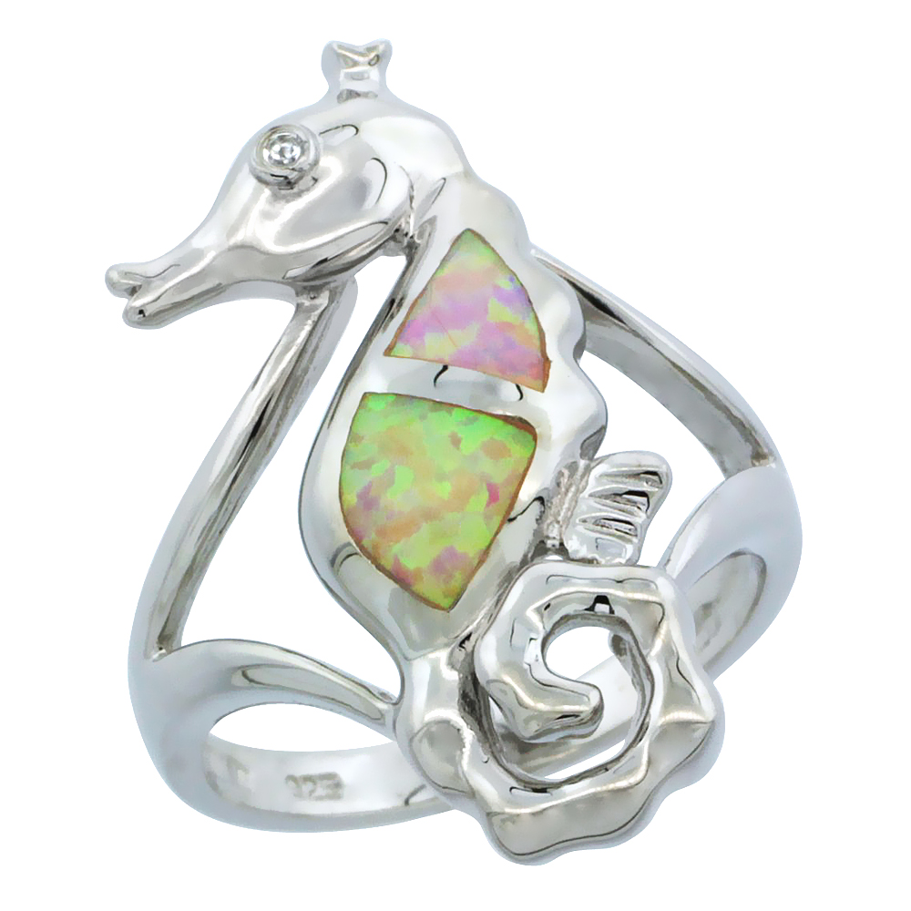 Sterling Silver Synthetic Pink Opal Seahorse Ring Cubic Zirconia Accent, 1 1 16 inch by WorldJewels