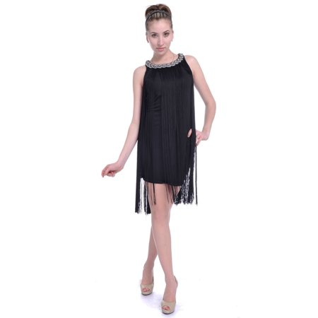 Fashion Women's Chain Neck Swing Ombre Draping Tassel Flapper Gatsby Cocktail Party Dress](Great Gatsby Clothes For Women)