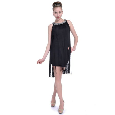 1920 Great Gatsby Dresses (Fashion Women's Chain Neck Swing Ombre Draping Tassel Flapper Gatsby Cocktail Party)