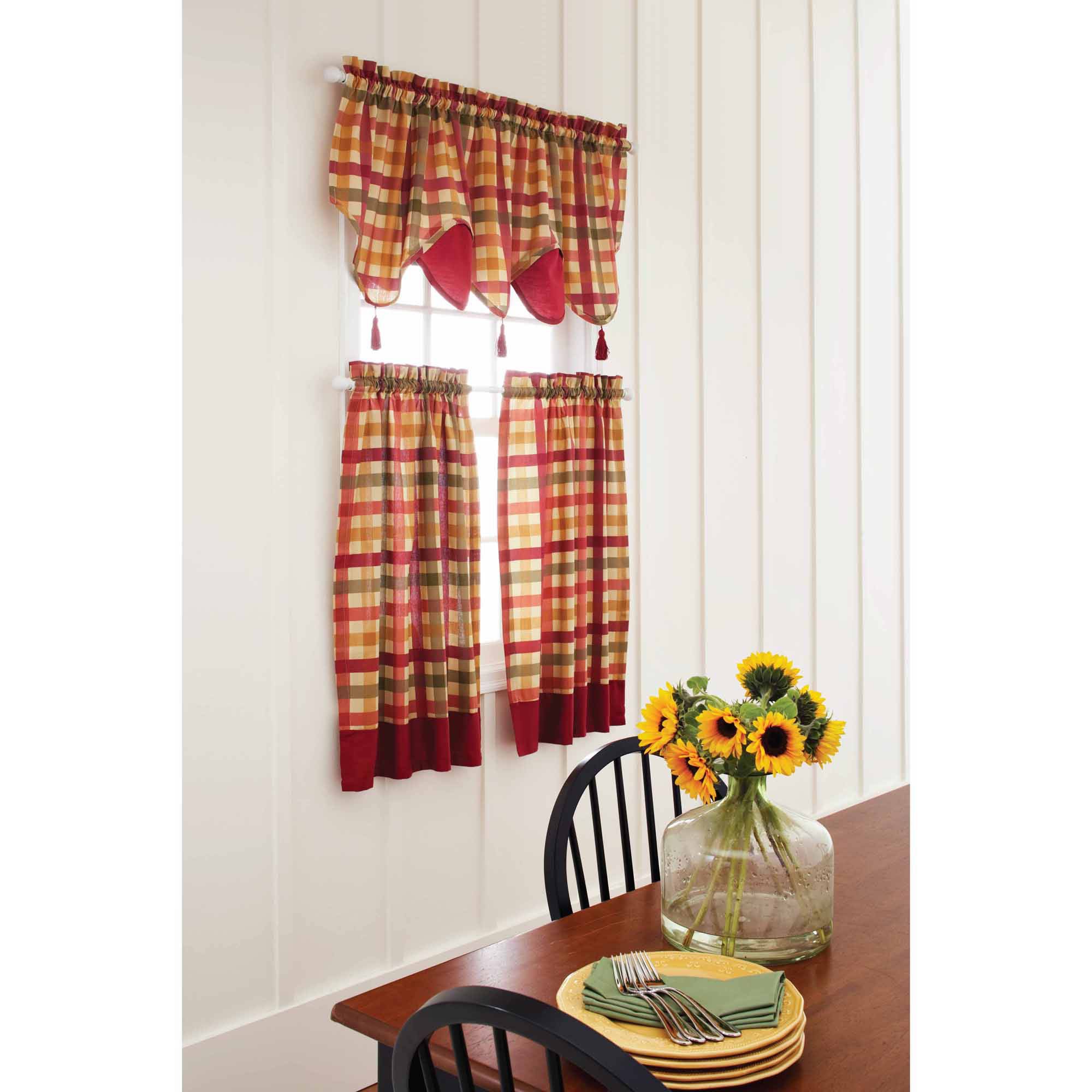 Better Homes and Gardens Red Check Tier, Valance, or Swag Valance