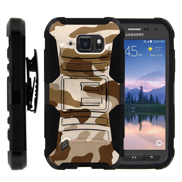 Samsung Galaxy S6 Case | G920 Case [ Clip Armor ] Rugged Impact Defense Case with Built in Kickstand and Holster - Brown Camouflage