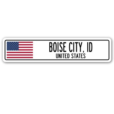 BOISE CITY, ID, UNITED STATES Street Sign American flag city country   - Halloween City Boise